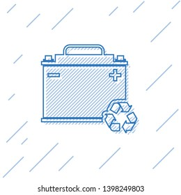Blue Car battery with recycle line icon isolated on white background. Accumulator battery energy power and electricity accumulator battery. Vector Illustration