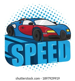 Blue car design and 'Speed' 3d text art vector illustration logo design for multipurpose use.