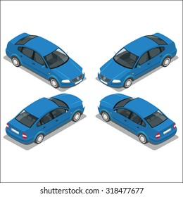 Blue Car. Flat 3d transport. High quality icon set. Sedan automobile. Isolated Vector