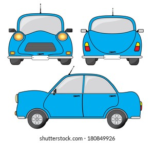 Blue car illustration, side, front and back view.
