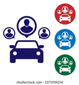 Blue Car sharing with group of people icon isolated on white background. Carsharing sign. Transport renting service concept. Set color icon in circle buttons. Vector Illustration