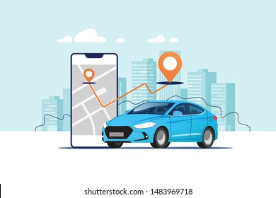 Blue car, smartphone with route and points location on a city map on the urban landscape background. Car and satellite navigation systems concept vector illustration.