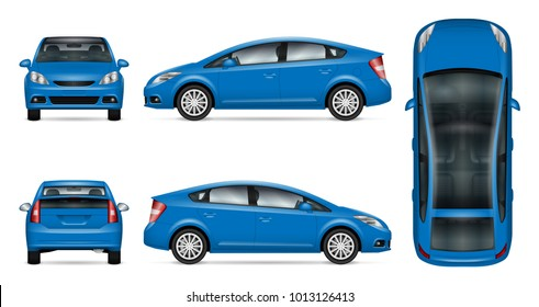 Blue car vector mock up for advertising, corporate identity. Isolated template of the car on white background. Vehicle branding mockup. Easy to edit and recolor. View from side, front, back, top.