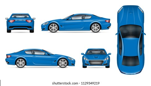 Blue car vector mockup on white background for vehicle branding, corporate identity. View from side, front, back, and top. All elements in the groups on separate layers for easy editing and recolor.