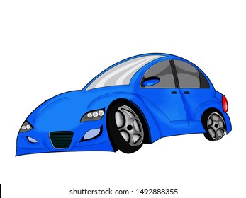 Blue car vector  on white background. Business sedan isolated. All elements in groups on separate layers.  All illustrations are easy to use and highly customizable, logical layer to fit your needs