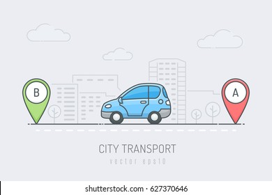 Blue car vehicle traveling route with red and green location marker in the city . Vector illustration in line art drawing style