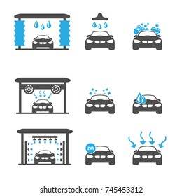 Blue Car Wash Objects icons Set - Vector illustration