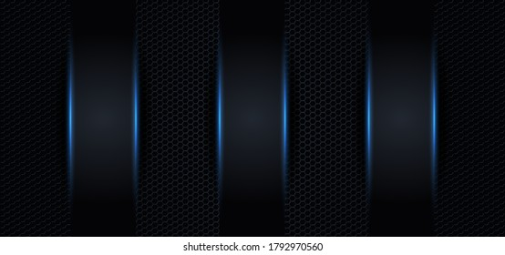 Blue carbon fiber texture background with three panel