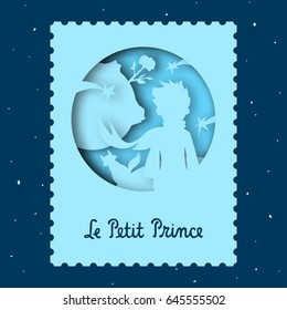 A blue card with papercut 3D illustration of The Little Prince. Vector illustration.