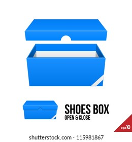 Blue Cardboard Shoes Box Carton Package Open With Lid. Ready For Your Design. Product Packing Vector EPS10