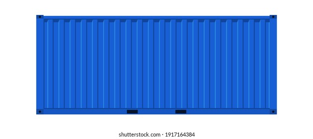Blue cargo container. Realistic side view metal distribution box, transportation delivery freight international logistic shipping industry vector realistic 3d isolated on white single warehouse object