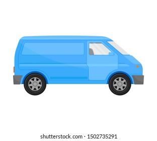 Blue cargo minivan. Vector illustration on a white background.