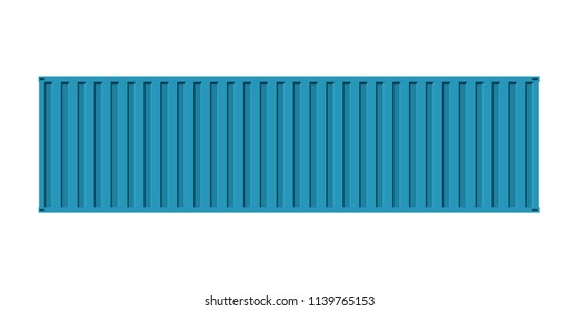 Blue cargo sea containe, facade view,isolated on white background,flat vector illustration