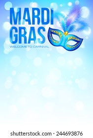 Blue carnival mask with feathers on bokeh lights background vector Mardi Gras poster background