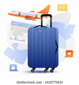 Blue carry-on bag or suitcase, ticket and airplane. Vector illustration of travel, bisiness travel, vacation or journey. Isolated on white background.