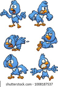 Blue cartoon bird. Vector clip art illustration with simple gradients. Each on a separate layer.