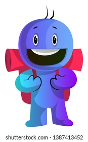 Blue cartoon caracter with a backpack illustration vector on white background
