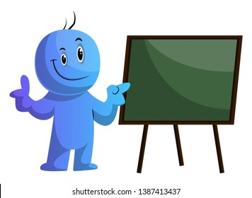 Blue cartoon caracter and the board illustration vector on white background