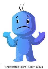 Blue cartoon caracter in dilemma illustration vector on white background