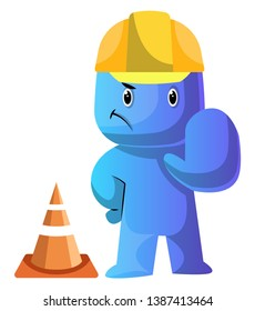 Blue cartoon caracter dressed as a costruction worker illustration vector on white background