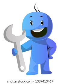 Blue cartoon caracter holding a big tool illustration vector on white background