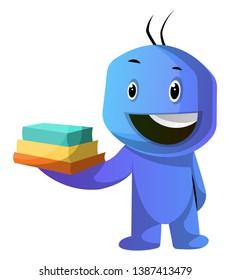 Blue cartoon caracter holding books illustration vector on white background
