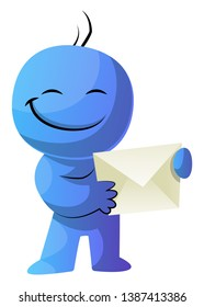 Blue cartoon caracter holding envelope illustration vector on white background