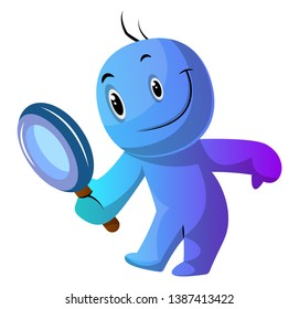 Blue cartoon caracter holding magnifying glass illustration vector on white background