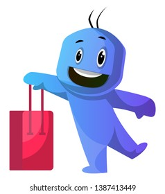 Blue cartoon caracter holding red shoping bag illustration vector on white background