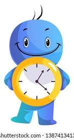 Blue cartoon caracter holding yellow clock illustration vector on white background