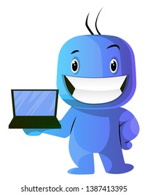 Blue cartoon caracter with laptop illustration vector on white background