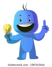 Blue cartoon caracter with lightbulb illustration vector on white background