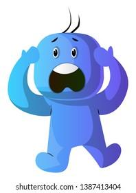Blue cartoon caracter panic illustration vector on white background