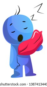 Blue cartoon caracter with a pillow illustration vector on white background