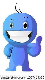 Blue cartoon caracter positive illustration vector on white background