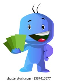 Blue cartoon caracter showing green cards illustration vector on white background