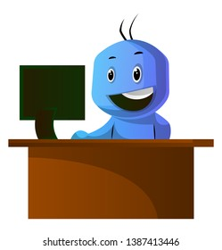 Blue cartoon caracter sitting at the office desk illustration vector on white background