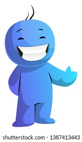 Blue cartoon caracter smiling with thumb up illustration vector on white background