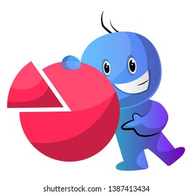 Blue cartoon caracter with a statistic sign illustration vector on white background