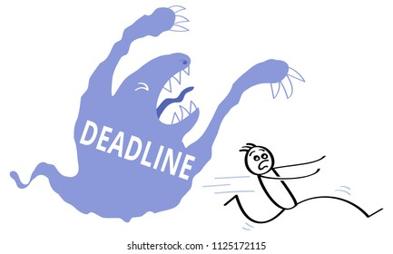Blue cartoon monster with the word DEADLINE written on it haunting scared stick man. Pressure, stress, vector illustration isolated on white background