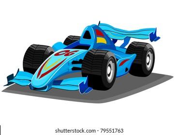 blue cartoon racing car