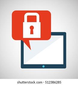 blue cartoon tablet lock data bubble speech vector illustration eps 10