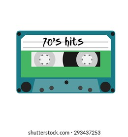 Blue cassette tape with text 70's hits vector isolated. Vintage cassette