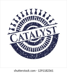 Blue Catalyst rubber stamp with grunge texture