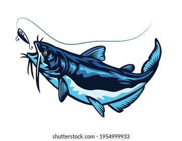 blue catfish swimming chasing the lure