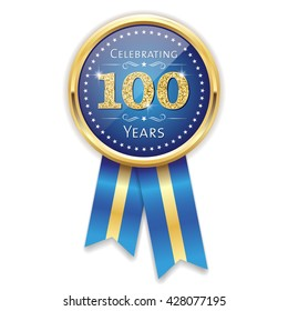 Blue celebrating 100 years badge, rosette with gold border and ribbon