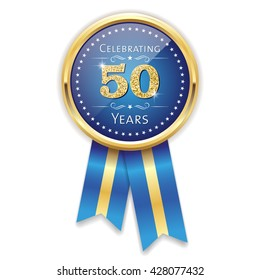 Blue celebrating 50 years badge, rosette with gold border and ribbon