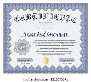 Blue Certificate of achievement template. Artistry design. Detailed. With great quality guilloche pattern.