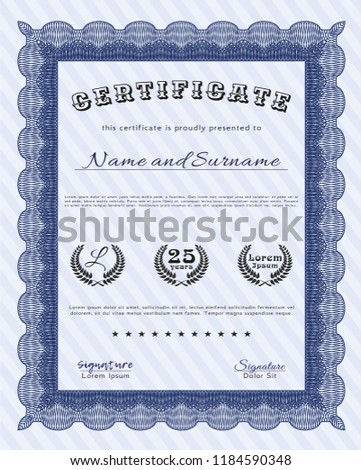 blue certificate achievement template easy print stock vector