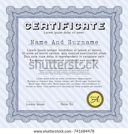 blue certificate achievement template guilloche pattern stock vector